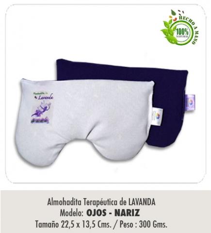 Almohadita de LAVANDA / Modelo :Antifaz, Ojos / Nariz / Tamaño : 22,5 x 13,5 cms