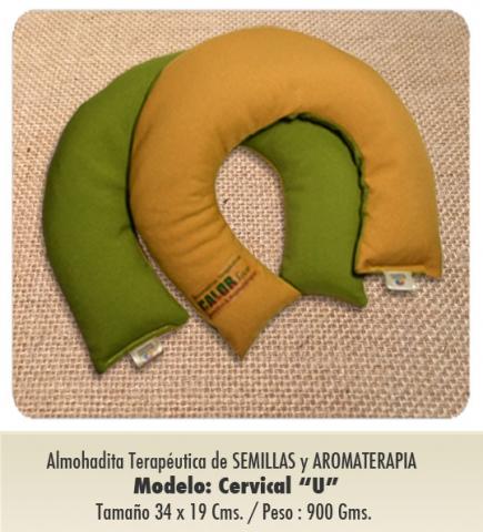"""Modelo : CERVICAL en forma de """"U"""" / de Semillas y Aromaterapia / Tamaño - 34 x 29 cms"""