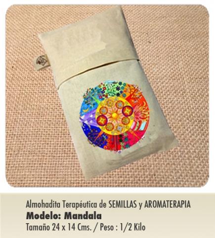 Modelo : MANDALA de Semillas y Aromaterapia / Tamaño : 24 x 14 cms. / con funda protectora lavable.