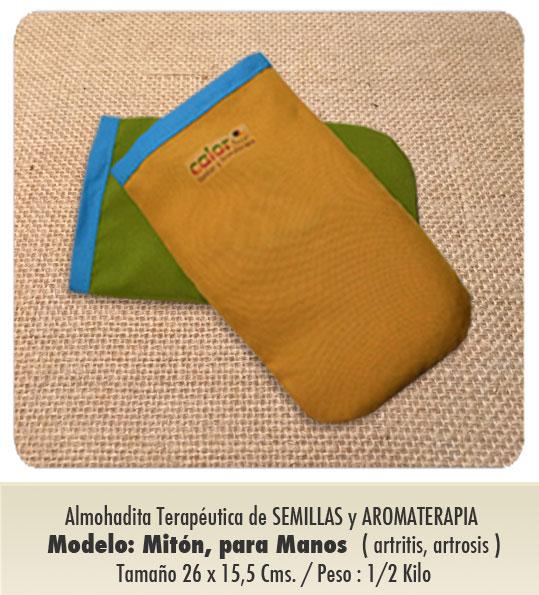 Modelo : MITÓN - MANO  Peso : 1/2 kilo / de Semillas y Aromaterapia / Especial artritis y artrosis