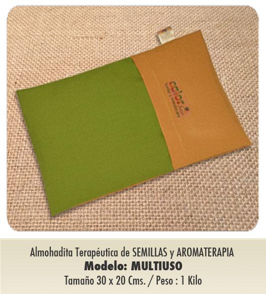 Modelo MULTIUSO /Almohadita de Semillas y Aromaterapia /   Tamaño : 30 x 20 cms / Peso : 1 kilo / con funda protectora lavable.