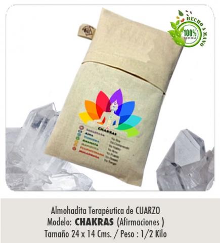 Modelo :Chakras AFIRMACIONES / De Cuarzo/ Tamaño :Tamaño : 24 x 14 cms. / Peso 1/2 Kilo/ Con funda protectora lavable.