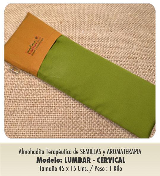 Modelo : LUMBAR - CERVICAL / Tamaño : 45 x 15 cms/ Peso : 1 kilo / con funda protectora lavable.
