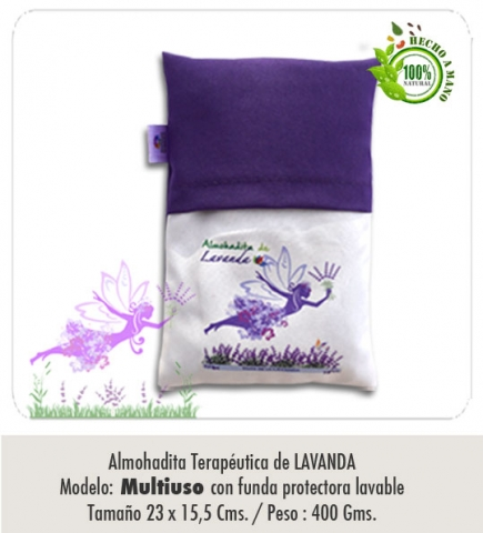 Almohadita de LAVANDA / Modelo : Multiuso / Tamaño : 23 x 15,5 cms / con funda protectora lavable